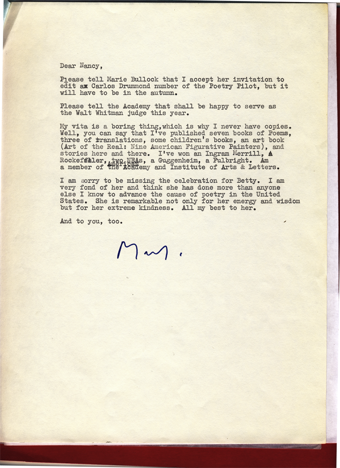 From The Archive Mark Strand S 1983 Letter Academy Of