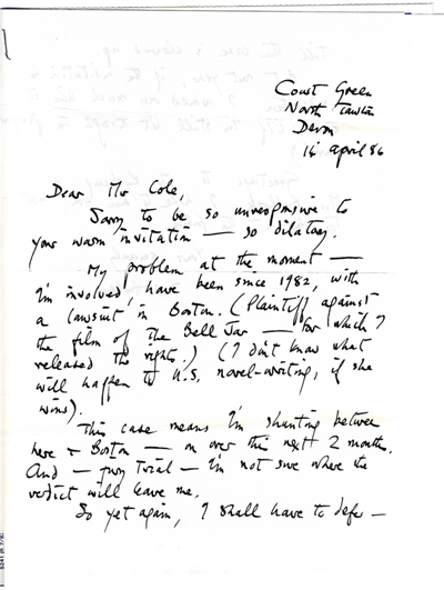 Ted Hughes Letter, 1986