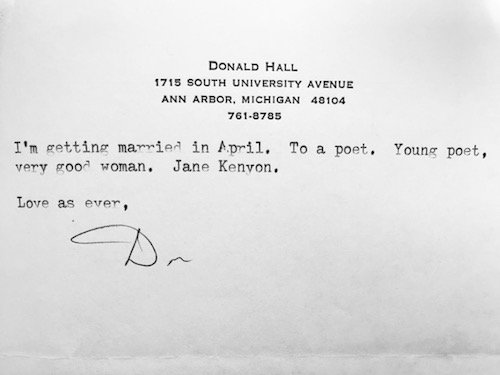 Letter from Donald Hall