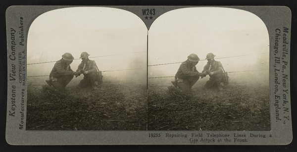 Repairing Field Telephone Lines During a Gas Attack at the Front