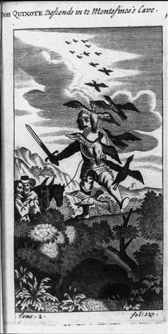 Don Quixote, holding sword and shield and attached to line held by another man, descending into Montesino's Cave