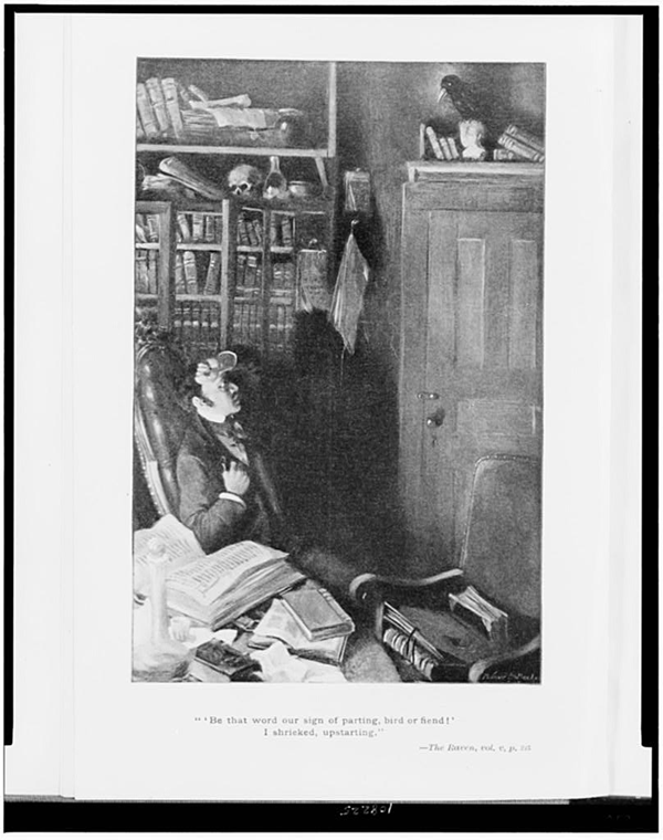 Man Seated in His Library, Looking at Raven