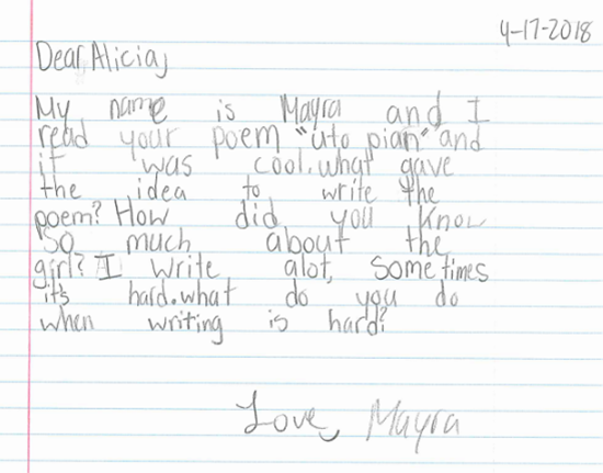 Dear Alicia Ostriker from Mayra