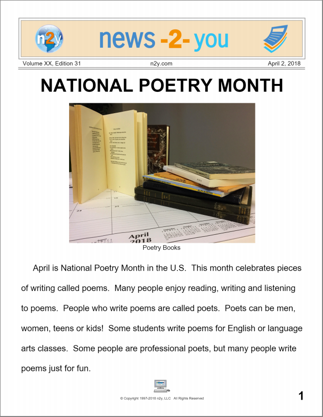 National Poetry Month Newspaper: Regular Level