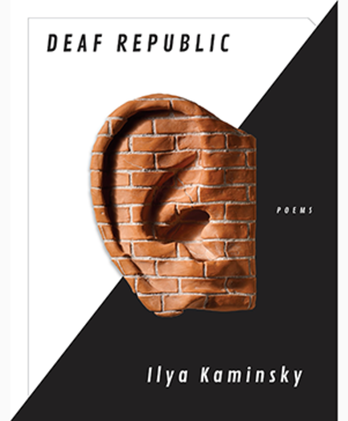 Book cover for Deaf Republic, the image is split diagonally from top left to bottom right, white on top and black on the bottom. There is an image of an ear, made out of a red brick wall.