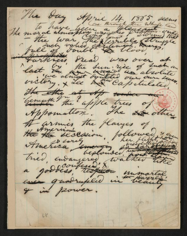 Draft of Whitman's poem for Lincoln